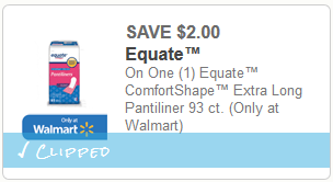 cupon Equate Pantiliners
