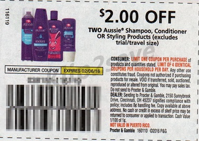 Aussie shampoo and conditioner coupons