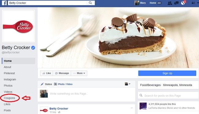 cupones en Facebook