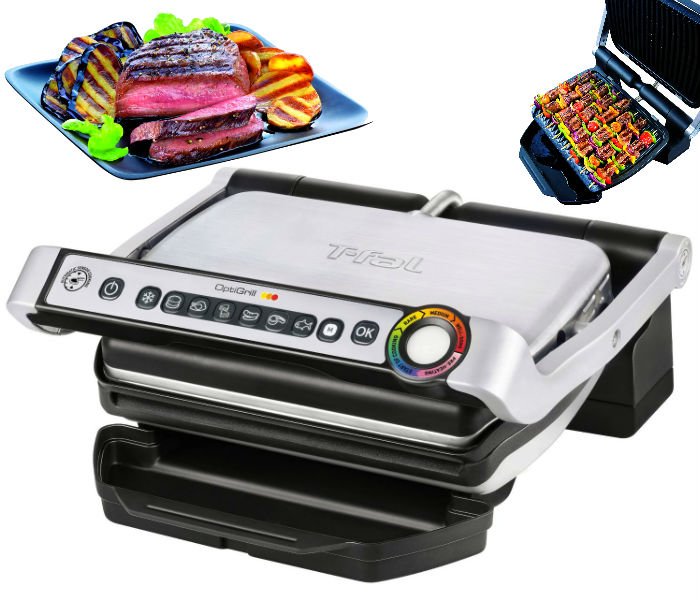 T fal optigrill stainless steel indoor electric grill solo - T fal optigrill indoor electric grill ...