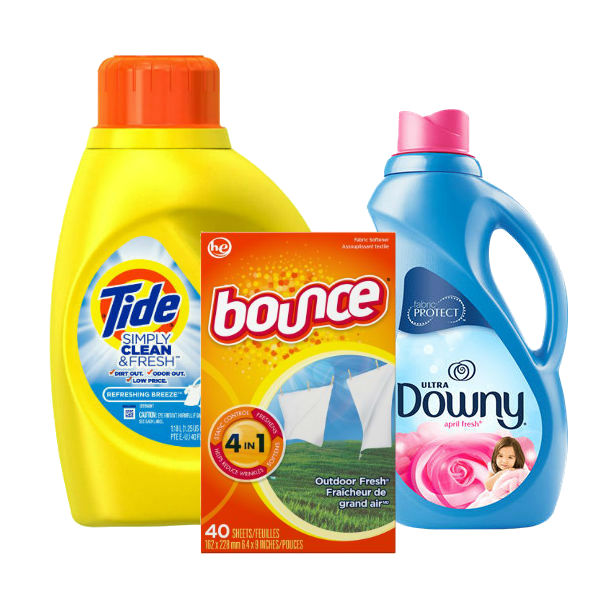 Tide Simply Clean, Downy Liquido o Bounce Sheets