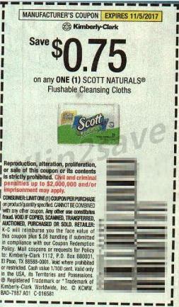 Scott Naturals Flushable Cleansing Cloths - SS 10-8-17