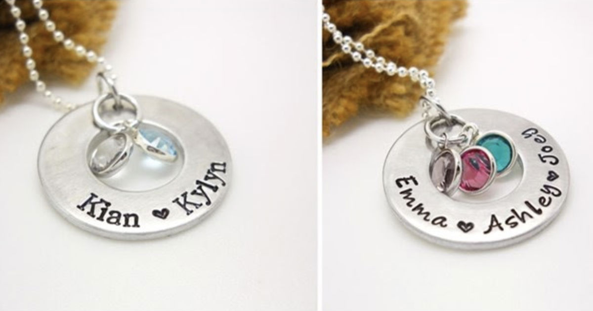 Personalized Hand Stamped Family Necklace
