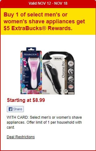 Select shave appliances - CVS Ad 11-12-17