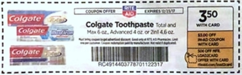 Colgate - cupon de Rite Aid Ad 12-17-17