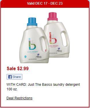 Detergente Just The Basics - CVS Ad 12-17-17