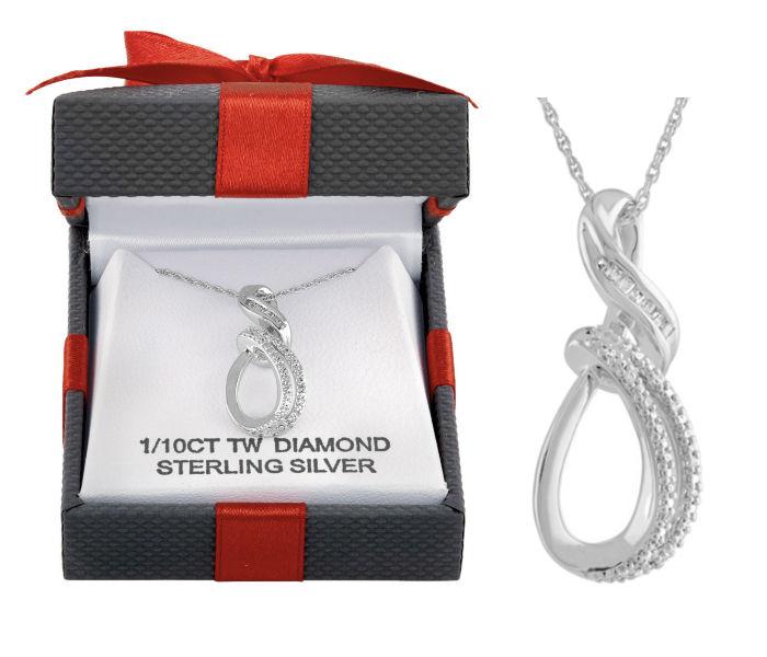 White Diamond Sterling Silver Pendant Necklace