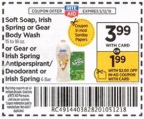 Irish Spring Body Wash - Rite Aid coupon in Ad