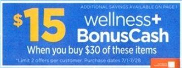 $15 wellness+BonusCash - Rite Aid Ad 7-1-18