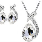 Crystal Pendant Silver Necklace Stud Earring Jewelry Set solo $5.97 con Envío