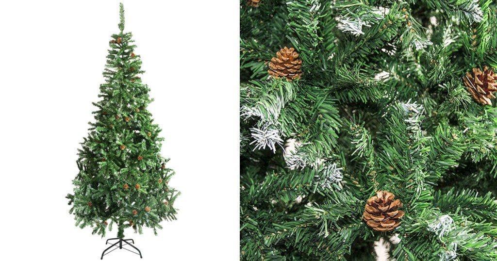 Arbol de Navidad ALEKO con Puntas Blancas y Pinecones