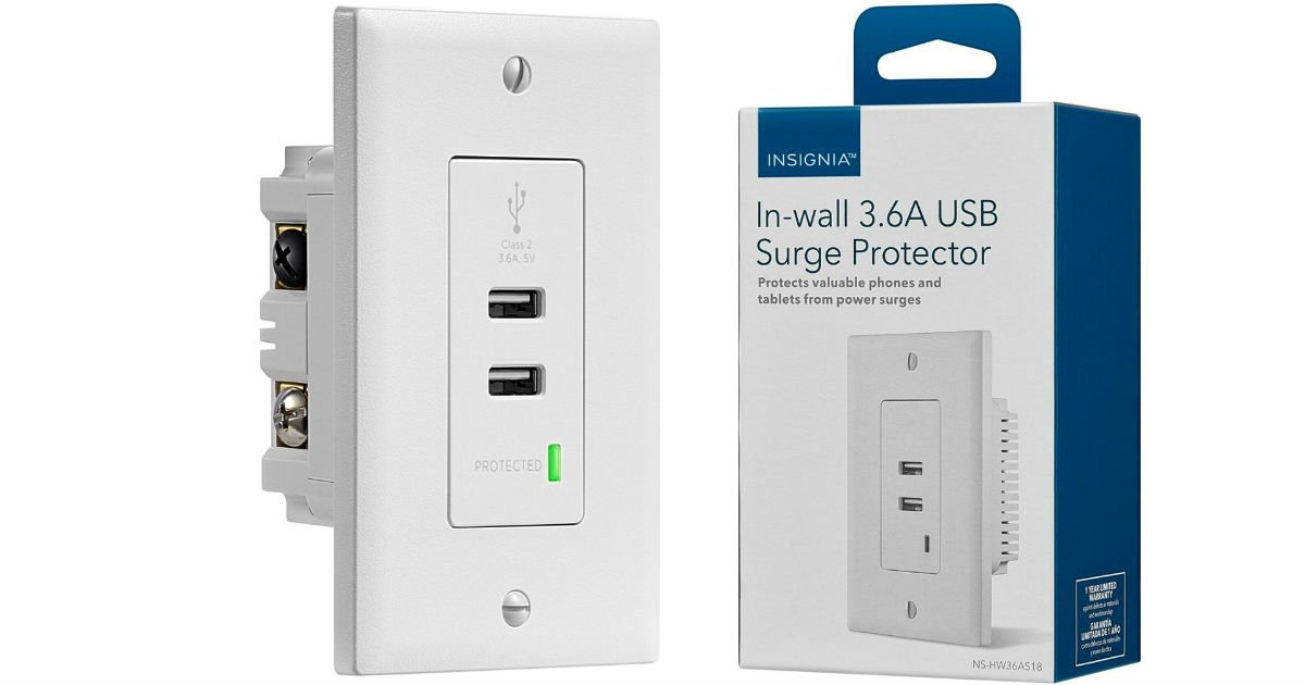 Insignia In-wall 3.6A USB Surge Protector