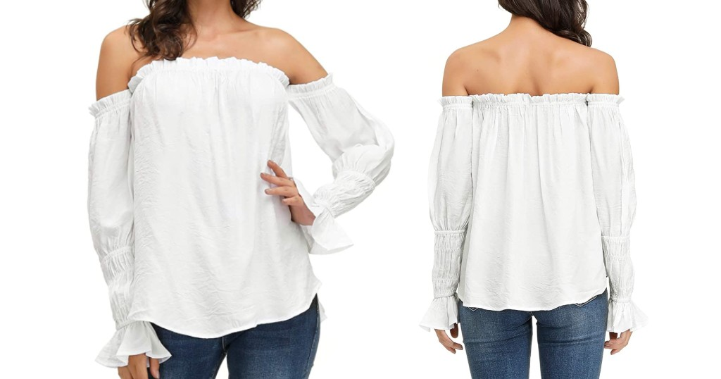 Camisa Casual Off Shoulder a solo $4.99 (Reg.$9.99) en Amazon