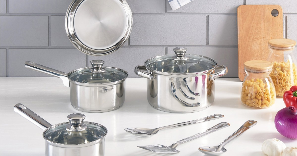 Set de Cocina Mainstays Stainless Steel 10-Piezas SOLO $19.88 en Walmart (Reg $40)