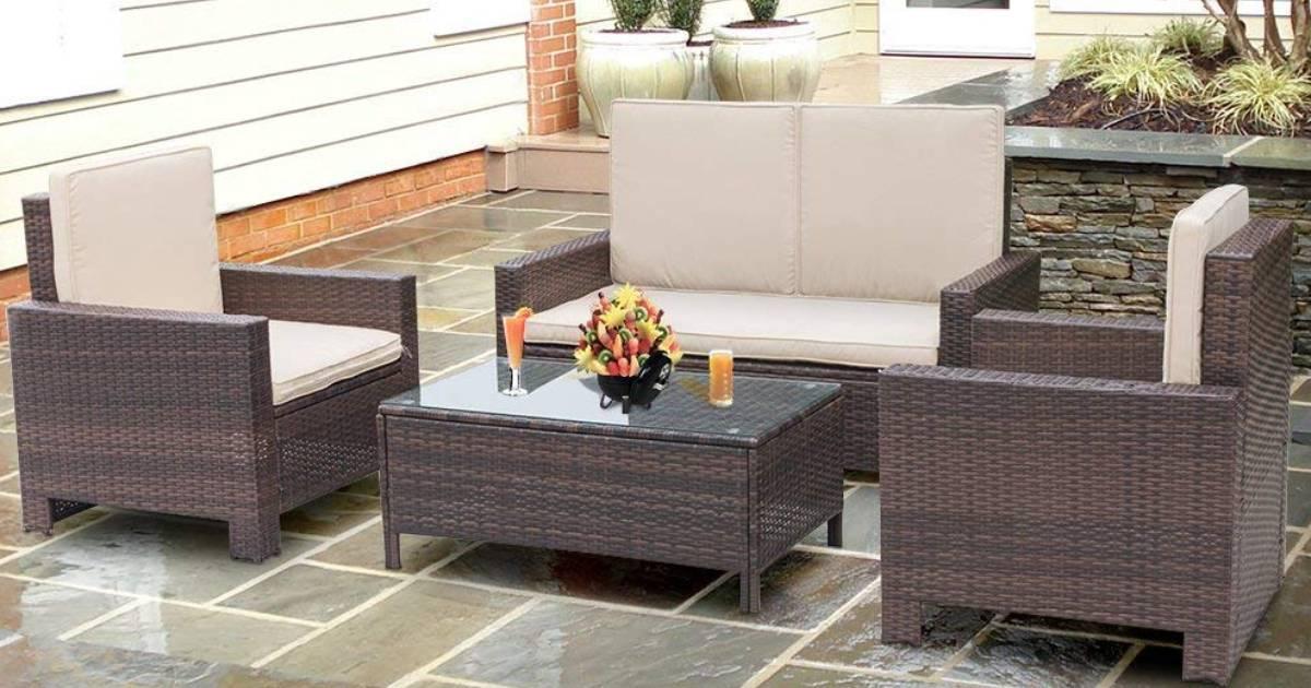 Juego de muebles de patio Walnew de 4 piezas a solo $319.99 en Walmart (Reg. $400)